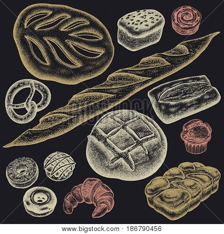 Bakery set. Bread white and black, brioche, ciabatta, croissant, French baguette, bun, pretzel, donut, muffin, loaf color chalk on a black board. Vector food illustration art. Vintage engraving.