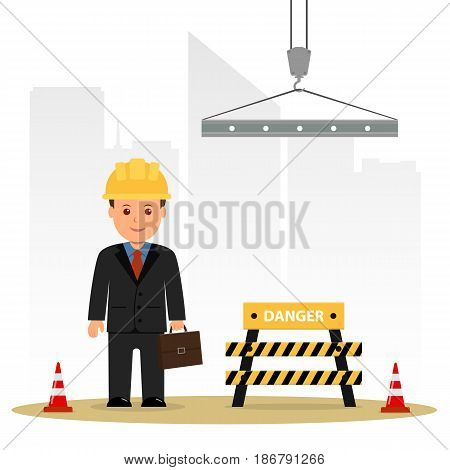 Architect inspects the construction site. Builder in a suit with a briefcase. Cartoon vector illustration danger in construction.