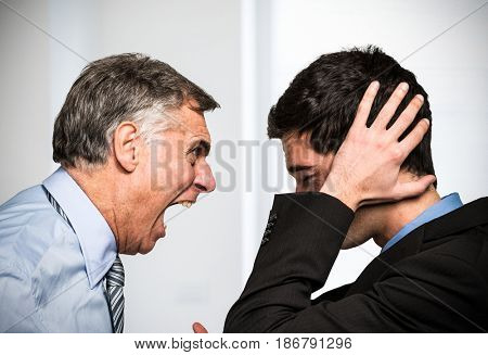 Boss yelling to an employee