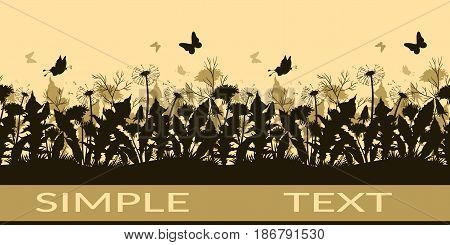 Horizontal Seamless Pattern, Summer Landscape, Butterflies, Grass, Leaves and Flowers Dandelions Black and Brown Silhouettes. Vector