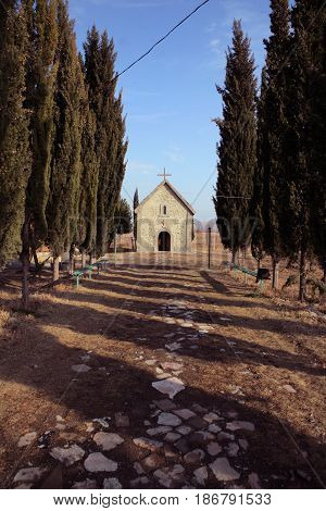 The way to the Christian Orthodox Assyrian Monastery in Georgia