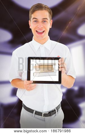 Geeky businessman showing his tablet pc against classroom