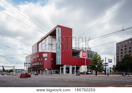 Rottedam The Netherlands - August 6 2016: Luxor Theater in Rotterdam. Designed by architectural firm Peter Wilson the theatre is situated along the waterfront between river and city