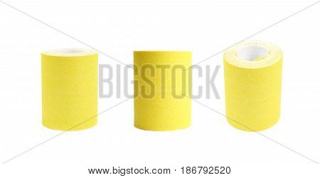Roll of a sandpaper emery paper isolated over the white background, set of three different foreshortenings