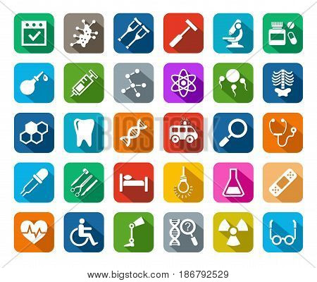 Medicine, icons, colored, flat, vector. Medical services specialization. The profession of doctors. Medical instruments. White, flat pictures on a colored background with a shadow.