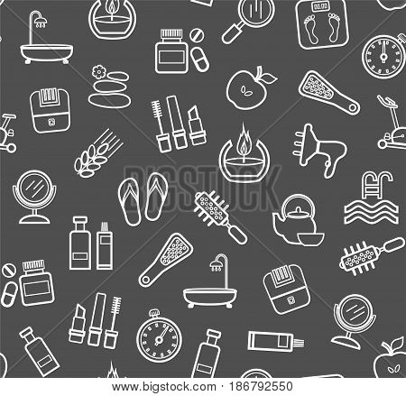 Beauty and health, background a dark gray, seamless, line drawing, vector. Care for body and face. White contour drawings on a dark gray field. Seamless vector background.