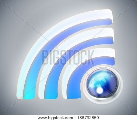 Wireless connection symbol with earth. 3D illustration.