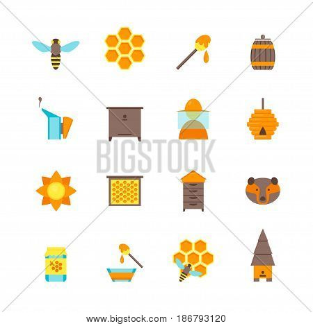 Cartoon Bee Apiary and Honey Elements Color Icons Set Flat Style Design. Vector illustration