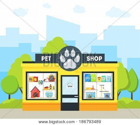 Cartoon Pet Shop Building Exterior Facade Domestic Animal Store on a Urban Street. Vector illustration