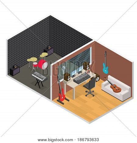 Interior Professional Sound Music Recording Studio Isometric View with Furniture and Equipment. Vector illustration