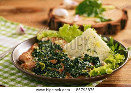 Grilled pork tenderloin with spinach sauce and boiled rice.
