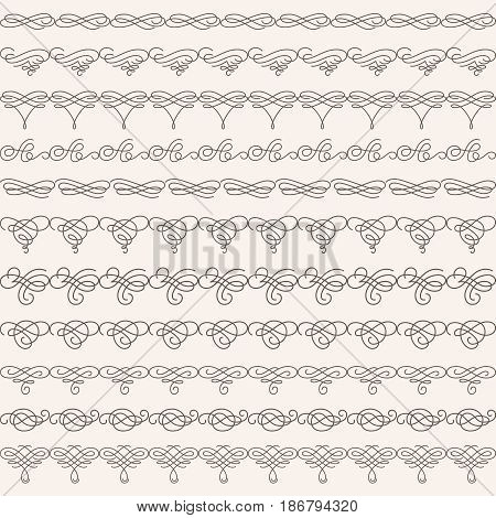 Set collection of borders in calligraphic retro style isolated on beige background. Can be used for decorate cards invitations menu. Vector illustration