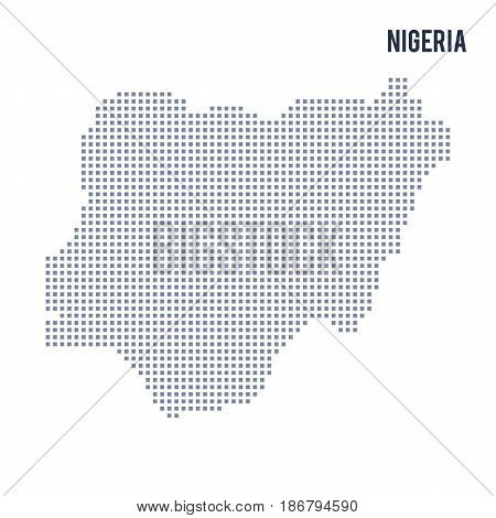 Vector pixel map of Nigeria isolated on white background . Travel vector illustration