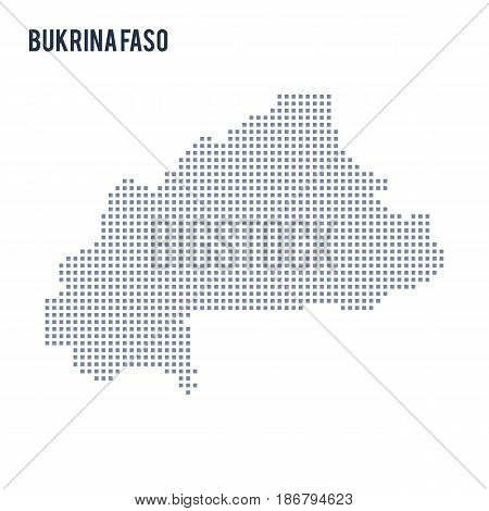 Vector pixel map of Bukina Faso isolated on white background . Travel vector illustration