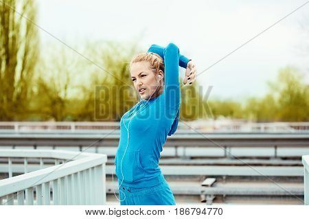 Blonde Woman Is Jogging