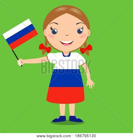 Smiling child, girl, holding a russian flag isolated on green background. Vector cartoon mascot. Holiday illustration to the Day of the country, Independence Day, Flag Day.