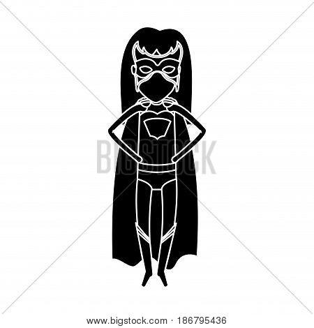 silhouette black front view superheroin woman in outfit with hand on the waist vector illustration