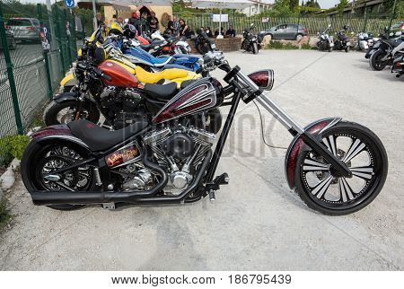 LAZISE ITALY - APRIL 30 2016: Chopper motorbike on parking in Lazise at Garda Lake. Italy