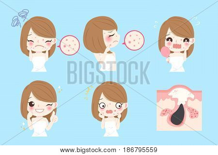 cartoon woman with acne before and after
