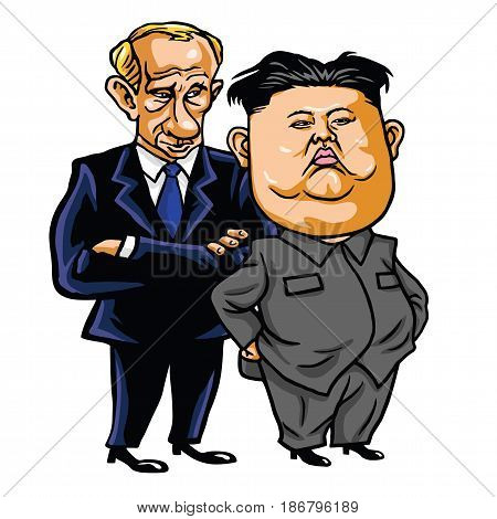 Kim Jong-un with Vladimir Putin. Cartoon Vector Illustration. May 17, 2017