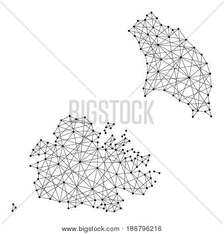 Map of Antigua and Barbuda from polygonal black lines and dots of vector illustration