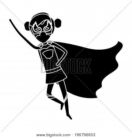 silhouette black front view superheroin woman flying with collected hair vector illustration
