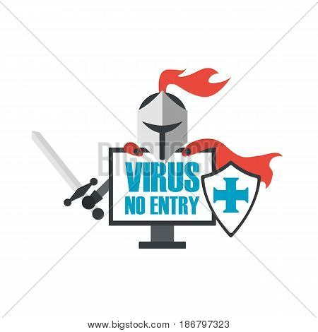 knight is antivirus program for protect your data isolated on white background
