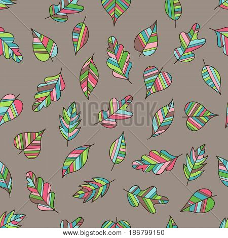 Creative Seamless Pattern with Motley Fall on Light Brown Backdrop. Doodle Art Striped Leaves Continued Background for Cloth Fabric Textile Tissue.