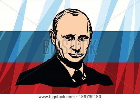 The President Of Russia Vladimir Vladimirovich Putin. Comic cartoon vintage pop art retro vector illustration