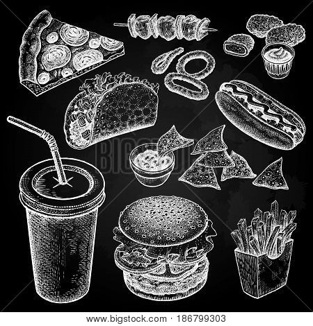 Food and drink. Burger fries pizza nuggets kebabs garlic ketchup hot dog isolated white chalk on black board. Designed for fast food restaurants and cafes. Vector illustration art set.