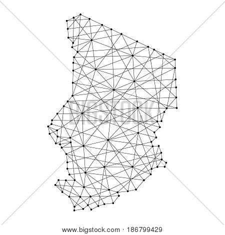 Map of Chad from polygonal black lines and dots of vector illustration