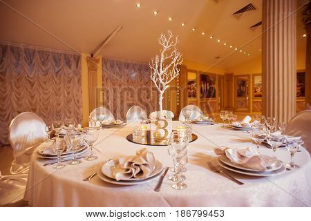 beautifully served wedding table with winter decorations in a fancy restaurant