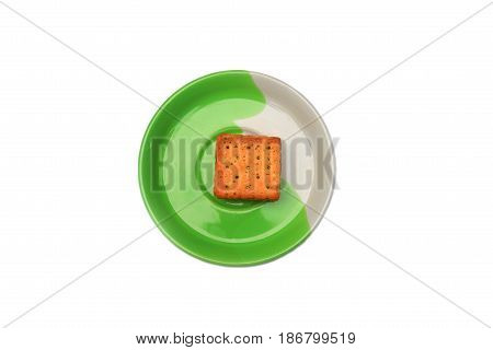 cookies bread square in the plate on white background