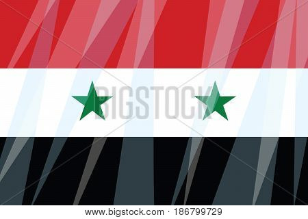 State flag of Syria. Comic cartoon vintage pop art retro vector illustration