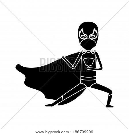silhouette black full body superhero male with leg extended vector illustration