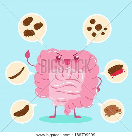 cute cartoon intestine different shapes of health concept