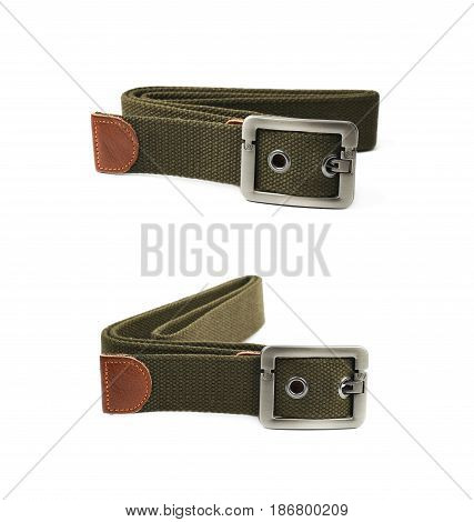 Beige rag clothing belt isolated over the white background, set of two different foreshortenings
