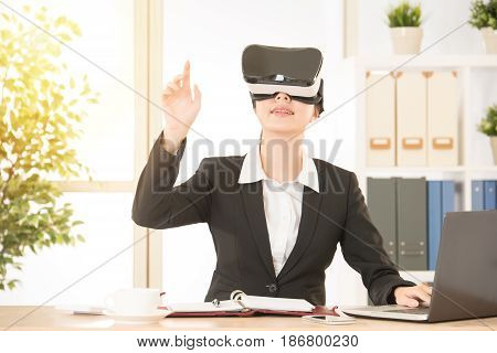 Office Woman Looking Through Virtual Reality