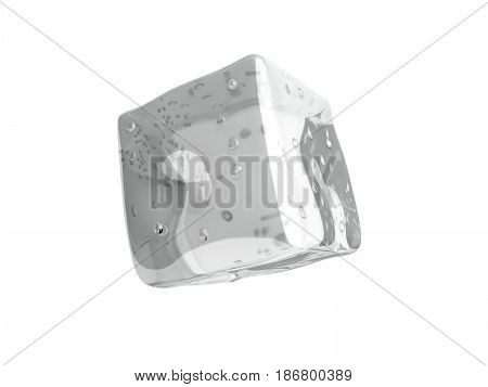 Ice Cube 3D Render On White Background