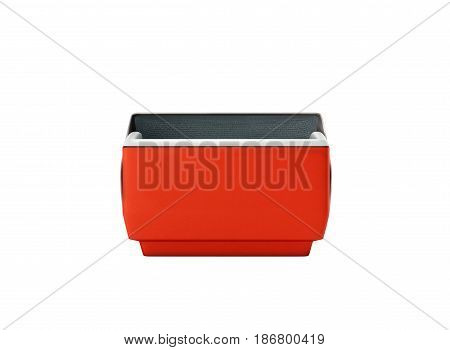 Open Refrigerator Box Red 3D Render On White Background No Shadow
