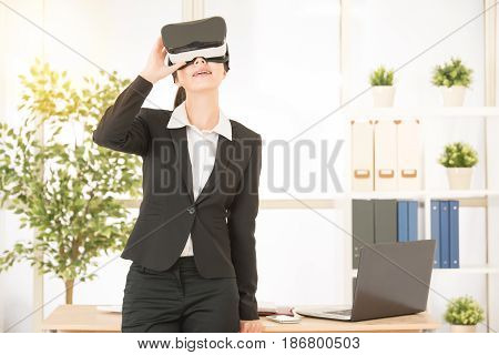 Woman Rest On Working Table With Virtual Reality