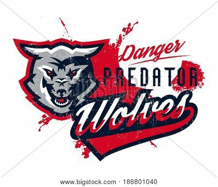 Design for printing on T-shirts, aggressive wolf ready to attack. Predator of the forest, dangerous beast, wild animal, mascot, sports identity, lettering. Vector illustration, grunge effect.