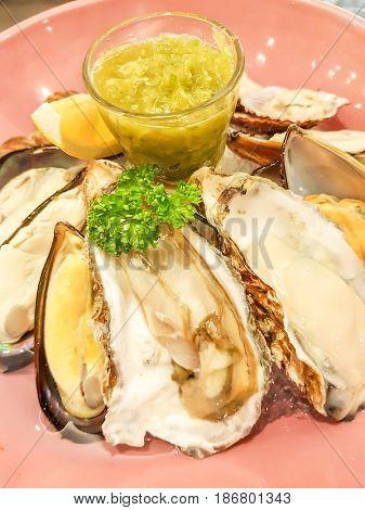 Assorted shellfish on plate