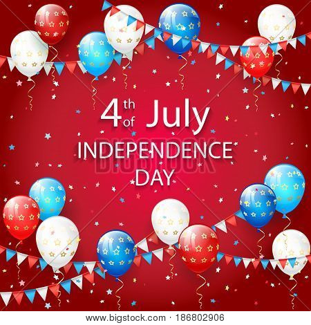 USA Independence day. Theme 4th of july with flying colorful balloons, pennants and confetti, illustration.