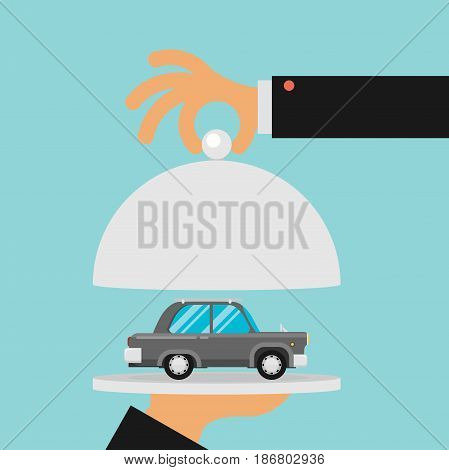 picture of human hand holding tray with car flat style illustration