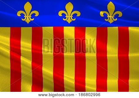 Flag of Millau is a commune in the Aveyron department in the French Midi-Pyrenees region in southern France. 3d illustration