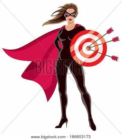 Female superhero over white background holding target.