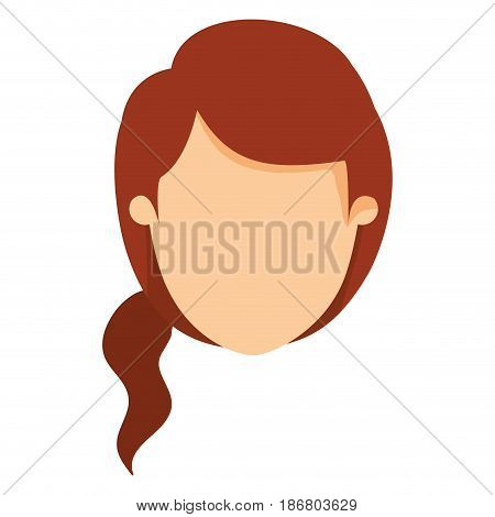 colorful image caricature front view faceless woman with redhead ponytail side hair vector illustration