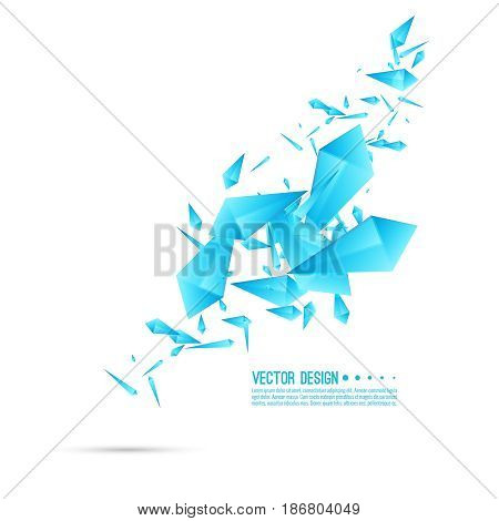 Abstract background with dynamic flying fragments. Glass geometric polygon shapes blue color in motion. Modern design. Vector.