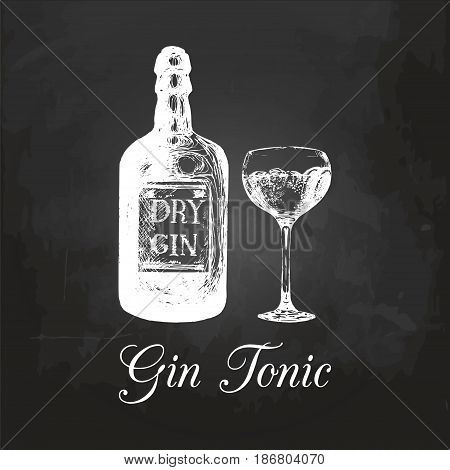 Hand sketched gin bottle and tonic glass. Alcoholic drink drawing on chalkboard. Vector illustration of traditional cocktail for cafe, bar, restaurant menu.